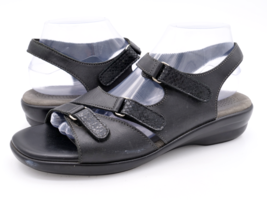 SAS Womens 9 Black Tripad Comfort Leather Ankle Buckle Strappy Sandals - $28.99