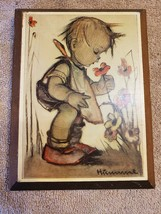 Wood Wall Art Plaque German Hummel Paper On Wood Child Smelling Flowers - $12.86