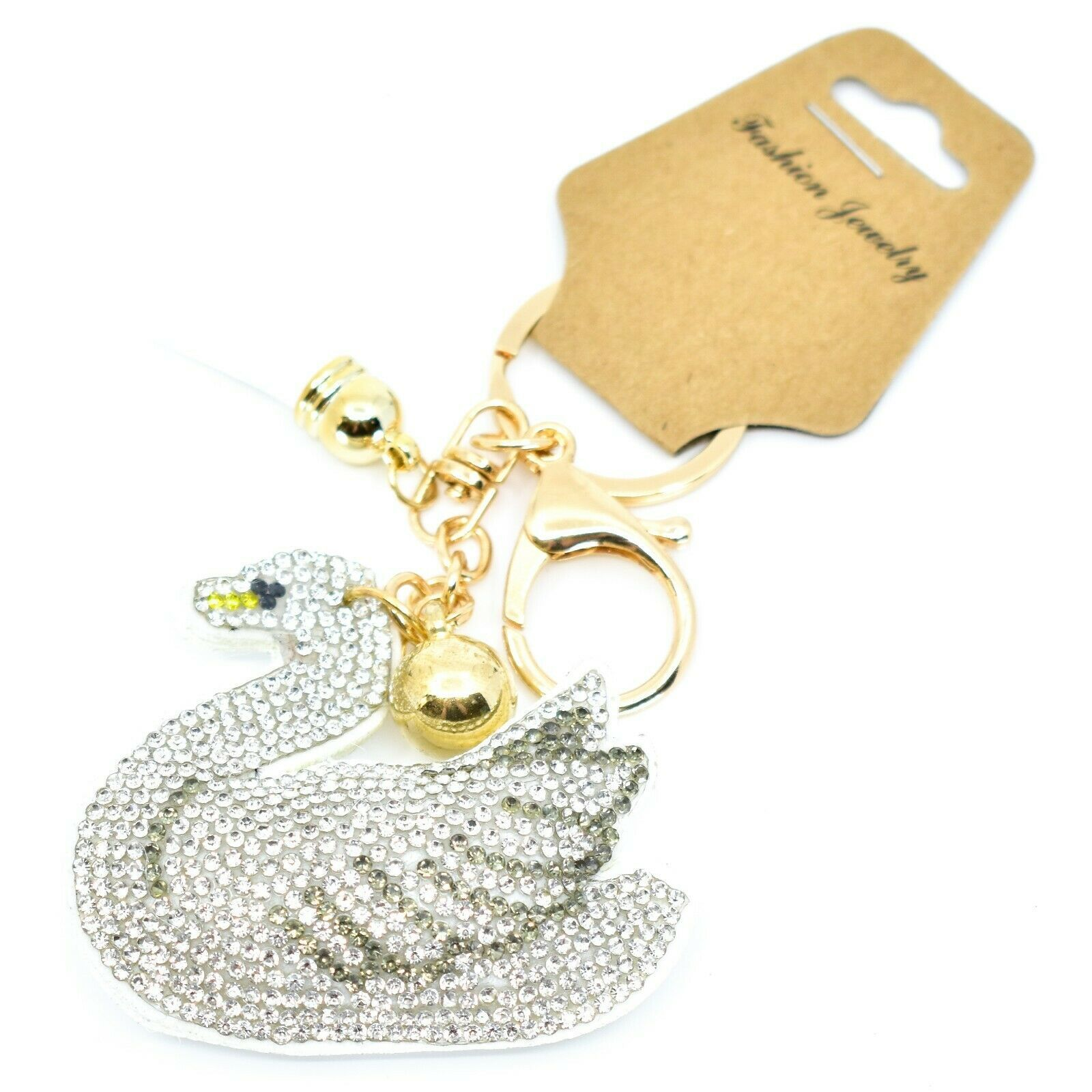 "Pave Crystal Accent 3D Stuffed Pillow Swan 2.5"" Keychain Key Chain New with Tag"