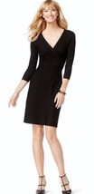 INC International Concepts Women Ribbed Contrast Black Sweater Flare Dre... - $40.13