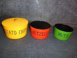 Old Vtg Mid-Century SNACK STORAGE SERVING BOWLS Potato Chips Pretzels Nu... - $29.69