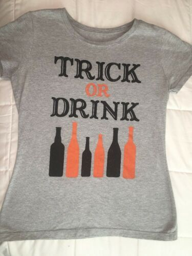 Primary image for Womens Halloween Tshirt Trick Or Drink Grey Small / Medium Shirt