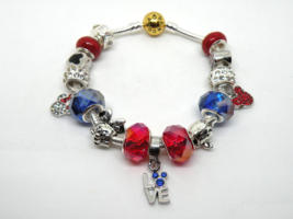 Red & Blue Disney European Murano Beaded Bracelet. Gift bag included - $19.95