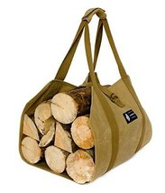 MyHomeIdeas Waxed Canvas Firewood Log Carrier Universal 16oz Canvas Tote... - $45.31
