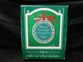 "Hallmark Keepsake ""Niece"" 1986 Fabric & Wood Ornament NEW - $4.16"