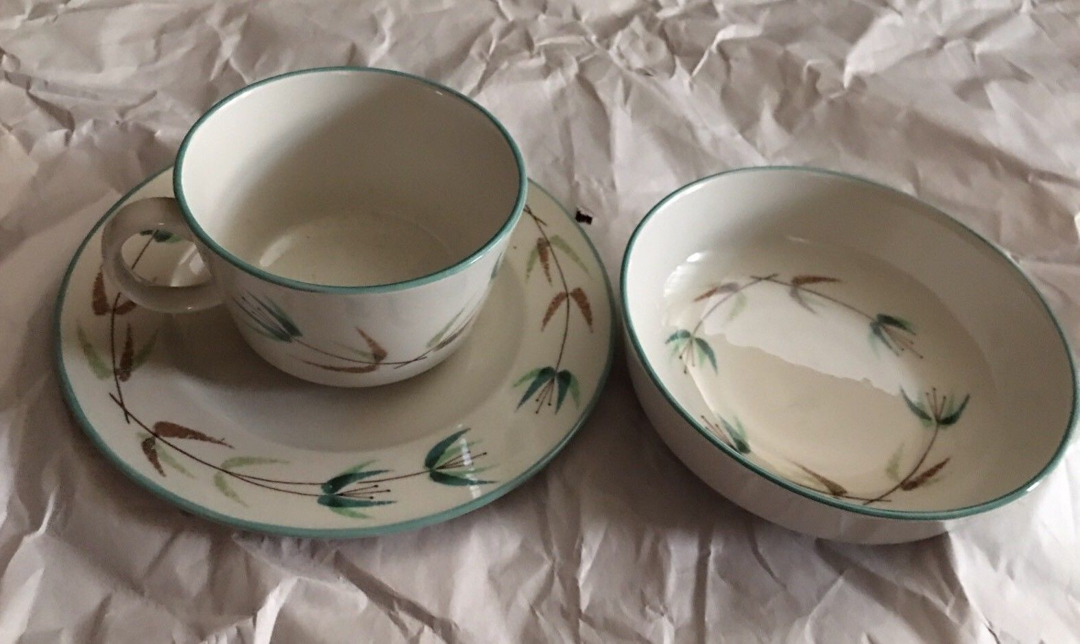 6 of 3 Piece Set Franciscan Fine Elegant CHINA Green leaves spring concept 1952 & 6 of 3 Piece Set Franciscan Fine Elegant and 50 similar items