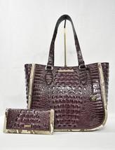 SET of Brahmin Medium Lena LeatherTote/Shoulder Bag + Ady Wallet in Fig Moliere - $489.00