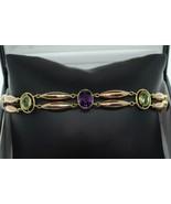 "Art Nouveau (ca. 1920) 9K Rose Gold Amethyst and Peridot Bracelet (7.75"") - $1,145.00"