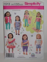 "18"" Doll Clothes Pattern Simplicity Fits American Girl Doll New Uncut 1513 - $9.46"