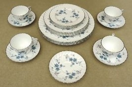 Aynsley Bone China Place Setting Set of 4 Delphine with Silver Trim - $197.72