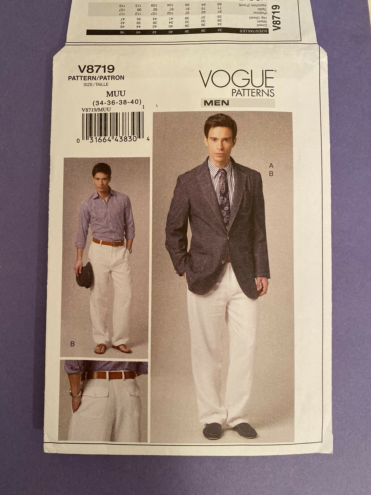 NEW Vogue Men's Suit Jacket & Pants Sizes 34-40 Pattern 8719 Uncut /FF