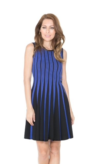 Sleeveless Cobalt Blue & Black Striped Flare Dress by Adore