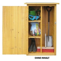 Garden Storage Shed Tools Broom Cupboard Cabinet Shelves Solid Wood Spac... - $175.02
