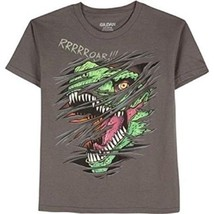 Gildan Boy's T Shirt T Rex Dinosaur Size X-Large 14-16 Gray Glow In The Dark - $9.89