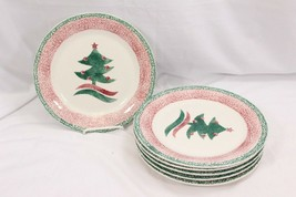 "Gibson Xmas Tree Dinner Plates Sponge 10"" Set of 6 - $42.13"