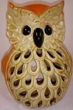 "Orange Brown  Owl Tea Light Candle Holder 7"" - $19.79"