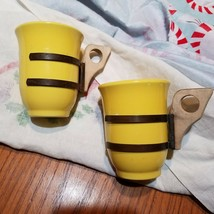 """Lof of 2 Yellow Pottery Vintage Wood Copper Handled 3.5"""" high Demi Cup M... - $17.41"""