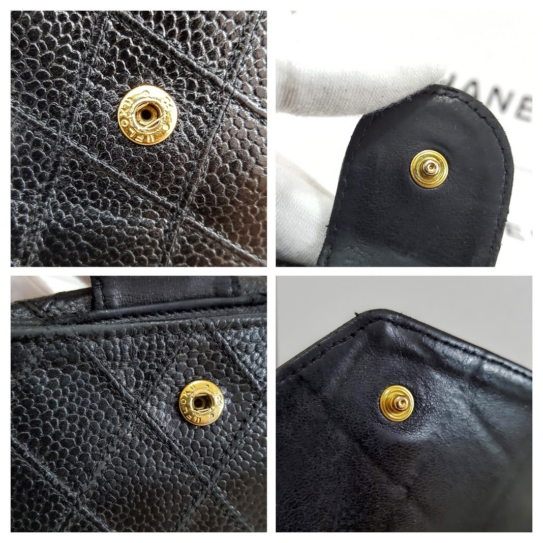 Auth Chanel Diamond Stitch Gold CC Caviar 2 in 1 Wallet Mini WOC Crossbody Bag image 8