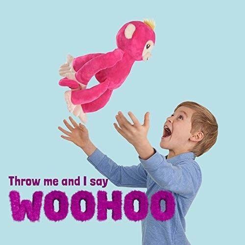 Fingerlings HUGS - Bella (Pink) - Advanced Interactive Plush Baby Monkey Pet - b