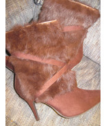 WILD ROSE Faux Fur Suede Women Heel Fashion Boot Brown OR Pink Sz 6 NEW ... - $22.99