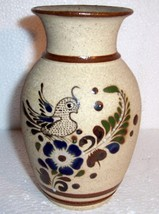 TONALA MEXICAN ORNATE BIRD ART POTTERY VASE - $56.00