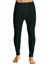 Men's Black 100% Cotton Waffle Knit Thermal Pajama Stretch Sleepwear Pants - L