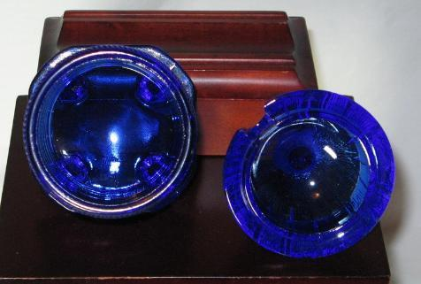 Mckee Art Glass Cobalt Bee Hive Lidded Honey Pot