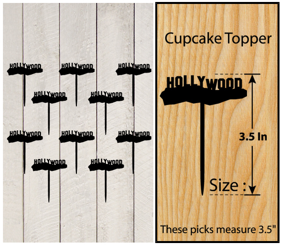 Decorations Wedding,Birthday Cake topper,Cupcake topper, Hollywood : 11 pcs