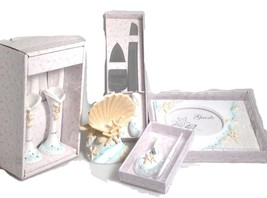8pc Life's a Beach Collection wedding set knife glasses pen guest book c... - $67.90