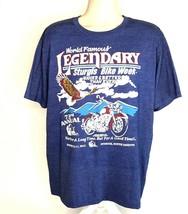 Sturgis South Dakota 73rd Bike Week Blue Double Graphic T-Shirt XL 50/50... - $24.74