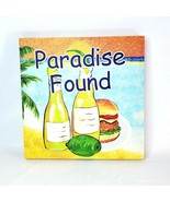 "Paradise Beach Style Printed Canvas Colorful Wall Art 14"" Square Wood Frame - $24.98"