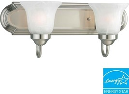 2-Light Bathroom Vanity Light Fluorescent Glass Shade Alabaster Brushed ... - $75.07