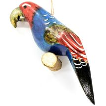 Hand Carved Painted Jacaranda Wood Colorful Parrot Bird Holiday Ornament Kenya image 3