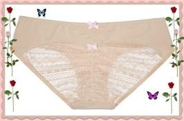 XL XLarge Beige w Pink Victorias Secret Heart Ruched Back Lace HIphugger Pantie - $9.99