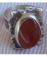 Red glass silver ring - $35.00