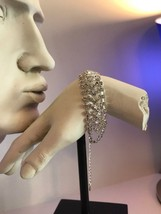 Stunning Sterling Silver Bracelet V Shape Sparkling Cubic Zirconia  Fashion New - $36.51