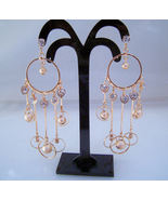 Earrings Gold Color Hoops Rhinestones Long Dangle - $2.99