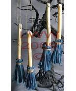 4 Samhain Halloween Slate Blue Broom Besom ornaments - $8.99