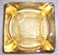 VINTAGE DEPRESSION ANCHOR HOCKING GLASS TOPAZ ASHTRAY - $25.88