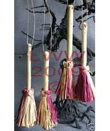 4 Samhain Halloween PINK & tan Broom Besom ornaments - $8.99