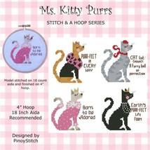 Ms. Kitty Purrs Stitch & A Hoop series cat cross stitch chart Pinoy Stitch - $9.00