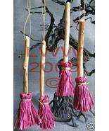 4 Samhain Halloween Dark Pink Broom Besom ornaments - $8.99