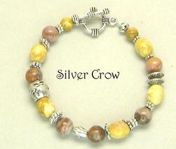 Yellow & Autumn Jasper Gemstone Bright Silver Bracelet - $21.99