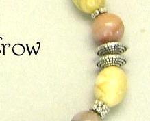 Yellow & Autumn Jasper Gemstone Bright Silver Bracelet