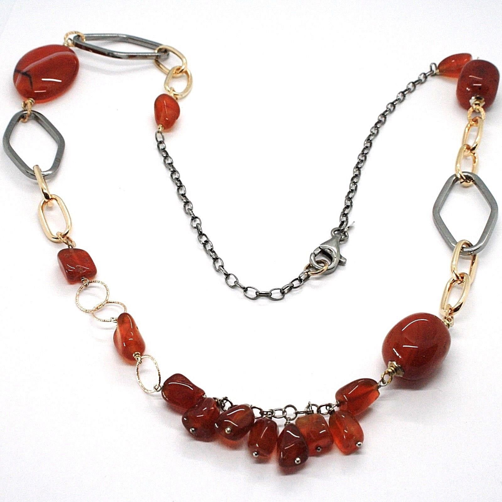 SILVER 925 NECKLACE, BURNISHED AND PINK, CARNELIAN RED, LENGTH 70 CM