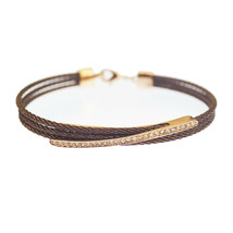 New! Kabl Brand Milan Stackable Twisted Stainless Steel Cable Bangle Bracelet - $19.99