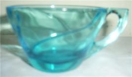 (4) VINTAGE TORQUISE BLUE RETRO DESIGNED GLASS CUPS - $59.60