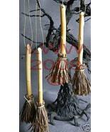 4 Samhain Halloween Khaki-color Broom Besom ornaments - $8.99