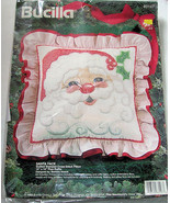 Bucilla Santa Face Pillow Cross Stitch Kit Complete '94 - $14.99