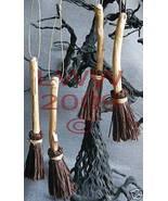 4 Samhain Halloween Dark Brown Broom Besom ornaments - $8.99